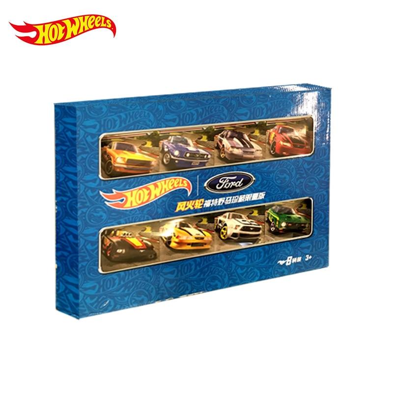 Купить с кэшбэком 8 Pcs Original Hot Wheels Car 1:64 Ford Collector Edition Metal Diecast 1/64 Model Car Set Toy Car Fans Series Christmas Gift