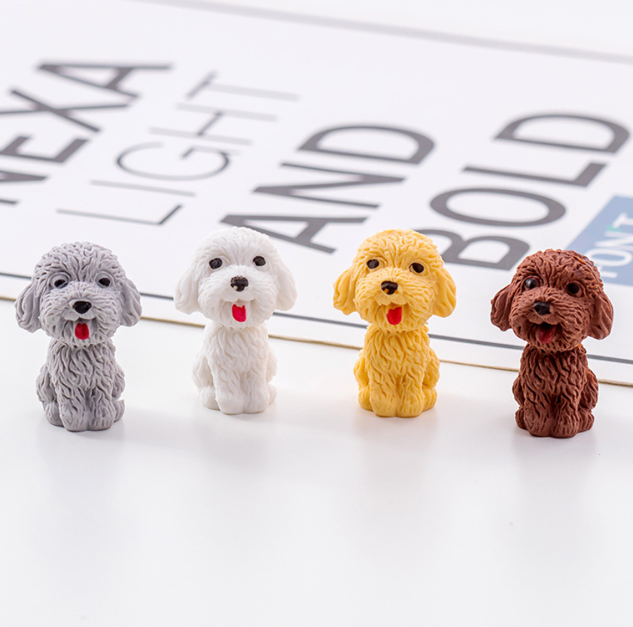 2pcs Little Pet Dog Cute Rubber Pencil Eraser Stationary School Supplies Items Kawaii Office Cartoon Kids Gift Students Prizes
