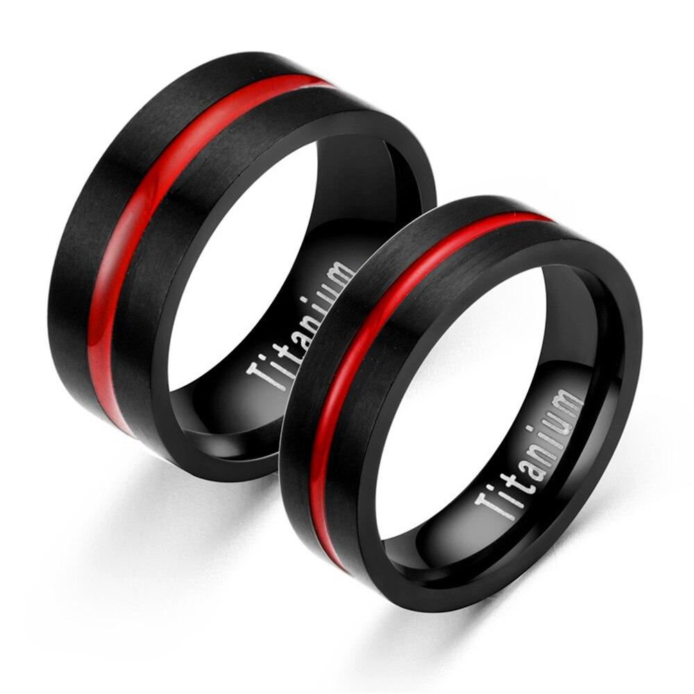 Модные Классические черные красные титановые стальные мужские и женские кольца из нержавеющей стали обручальные кольца для пар без потерт...