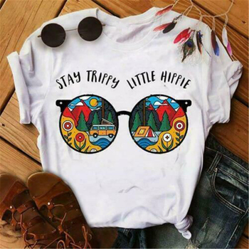 Glasses Stay Trippy Little Hippie Ladies T Shirt Men Women White Cotton S-3XL Tee Shirt Outfit Casual