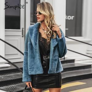 Image 3 - Simplee Patchwork Faux Fur Jas Vrouwen Elegant Button Herfst Winter Vrouwelijke Warme Jassen Mode Uitloper Dames Korte Bont Overjassen