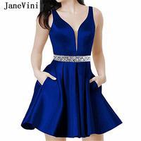 JaneVini Sexy V Neck Royal Blue Short Homecoming Dresses with Pockets A Line Sleeveless Beading Satin Junior Dresses Plus Size
