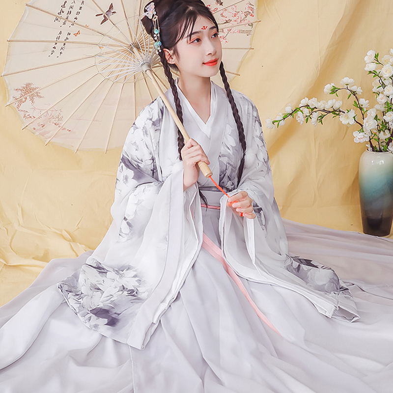 New Women Chinese Traditional Hanfu Folk Dance Dress Tang Dynasty Style Cosplay Fairy Elegant Princess Costumes For Girls DL5312