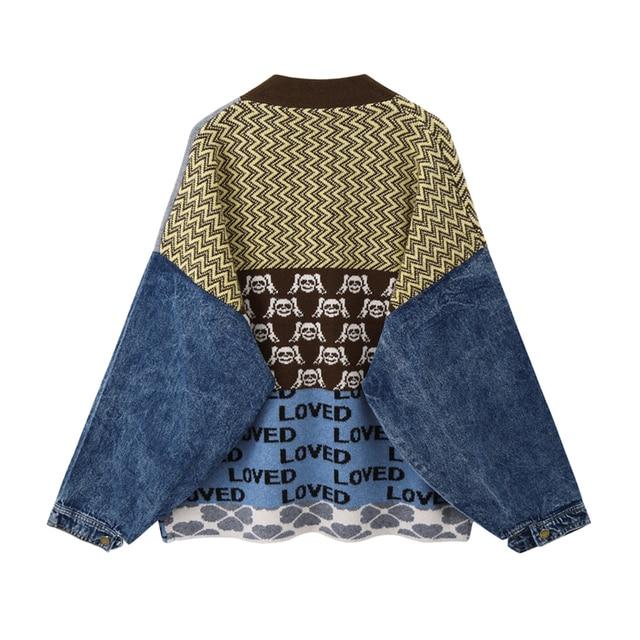Vintage Knitted Cardigan Sweater Women Patchwork Denim Coat V Neck Long Sleeve Knitwear Casual Loose Outwear Female Tops 2