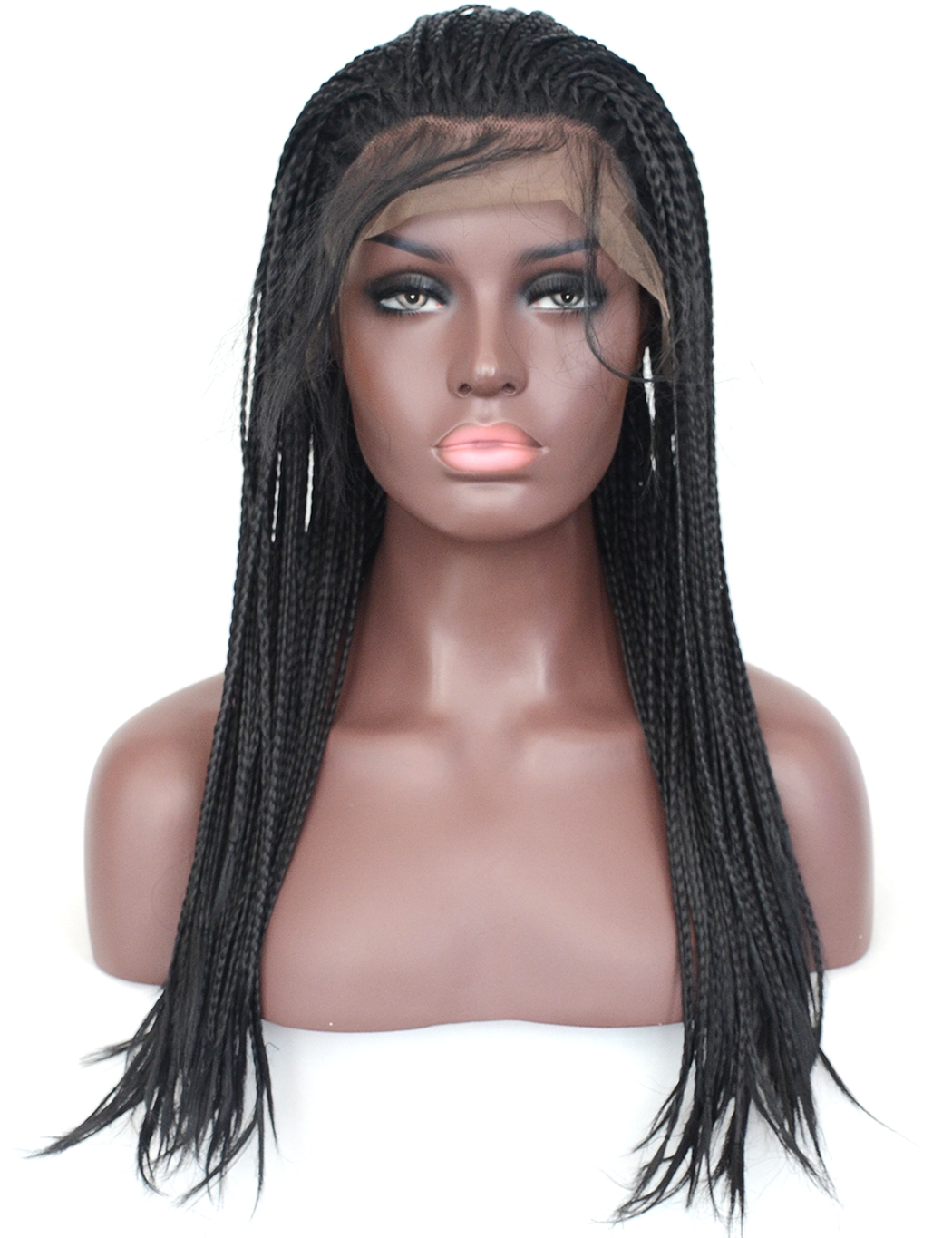 Vogue Queen 1b Micro Braided Synthetic Lace Front Wig High Temperature Fiber Daily Wearing For Women