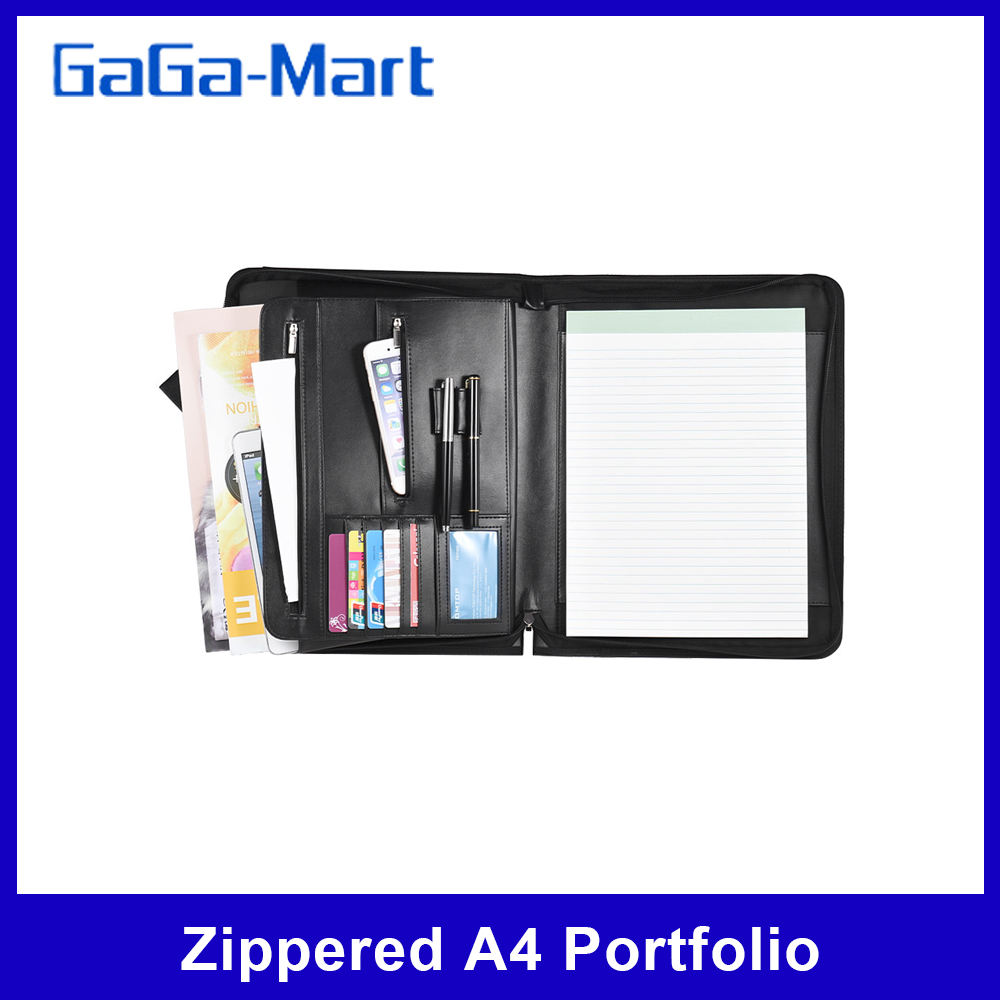 A4 Portfolio Zippered Multifunctional Professional Padfolio File Organizer with Writing Pad Card Pockets for Business Office(China)