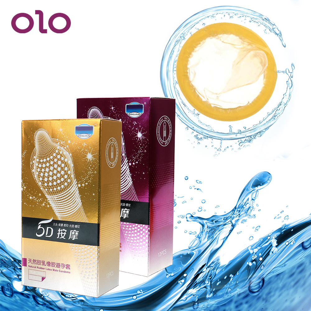 OLO 12pcs 5D Thread Ribbed G Point Latex Condoms Big Particle Contraceptives for Men Sex Products Condom image