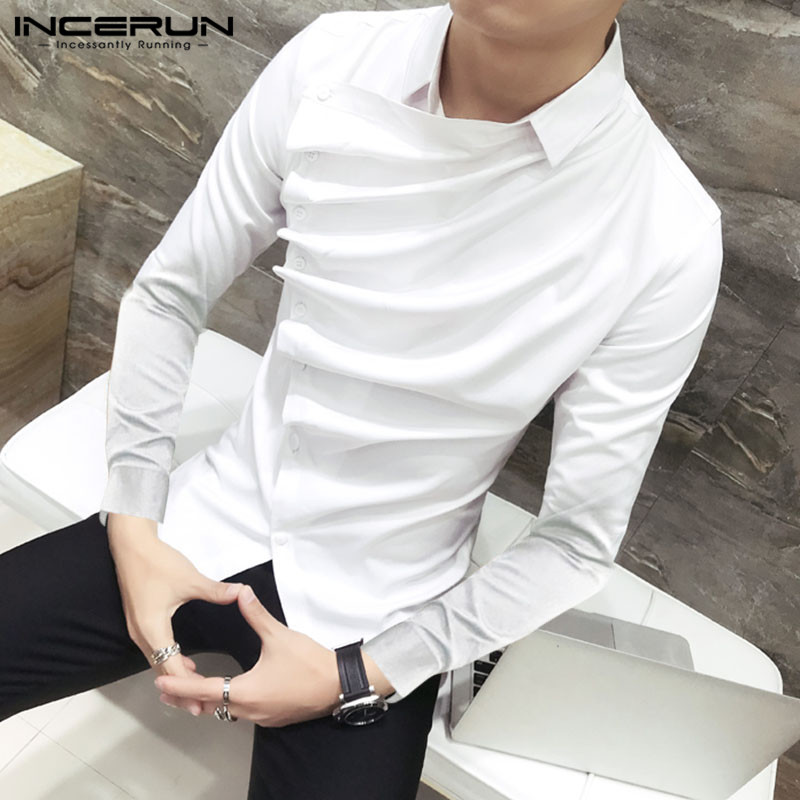 INCERUN Gothic Men Shirt  Stylish Long Sleeve 2020 Solid Color Party Clubwear Formal Blouse Irregular Dress Shirts Men