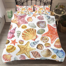 Bedding Set Luxury Elastic Bedding Cover Sea Shell Printed Home Textiles Cartoon Bed Linen King Single Size with Pillowcase