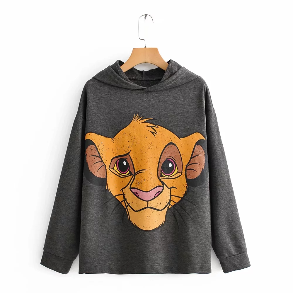 2019 Autumn Winter Hooded Tee Jumper The Lion King Coat Top Hoodies Women Clothing Sweatshirt Pullover Streetwear Cartoon