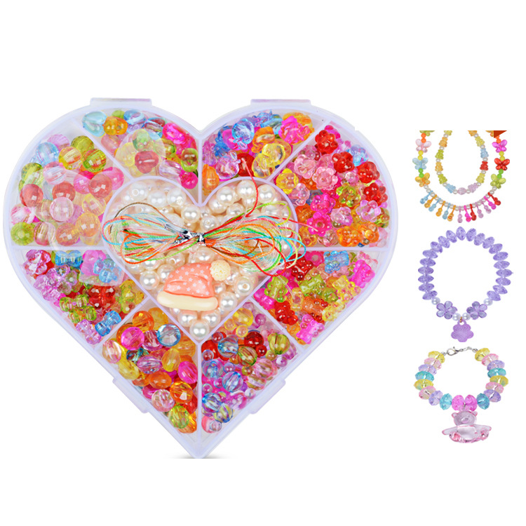 Heart Nine Grid Child Bead Toy DIY Hand-made GIRL'S Wear Necklace Bracelets Beads Educational Toy