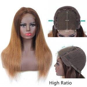 Image 3 - Pelucas de cabello humano liso con cierre de encaje de colores para mujer, peluca de cabello humano degradado, cabello brasileño Remy 4x4 con cierre de encaje Natural 180%