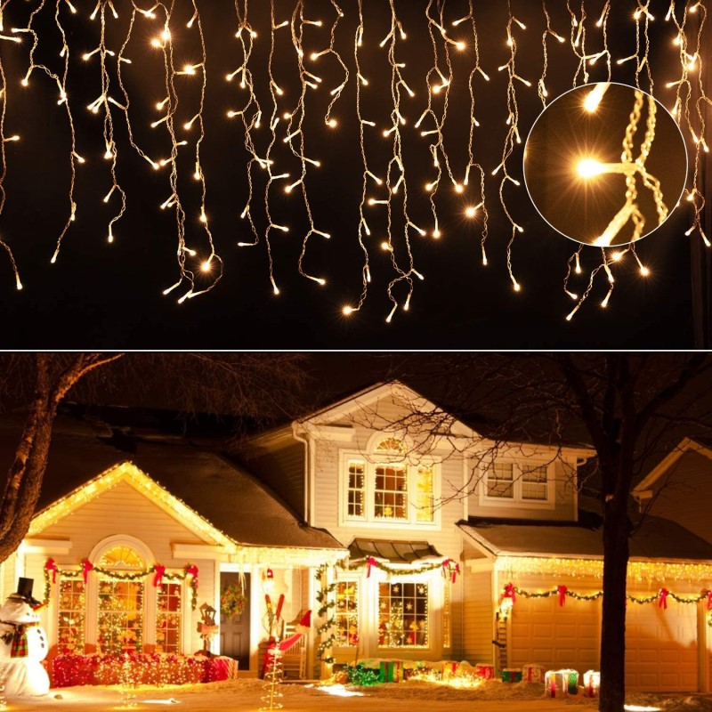 3-20m ao ar livre guirlanda natal e ano novo festão lâmpadas para decoração jardim quintal casa constante em luces brancos quentes led decoración