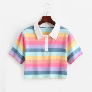Womens Short Tshirt Casual Color Stripe Button Lapel Pullover Beach Short Shirt Tops Short Sleeve Tops Ladies T-shirt 2020