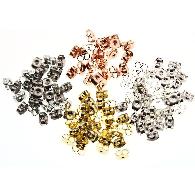 100pcs 6x4.5mm Butterfly Stainless Steel Earring Stoppers Post Stud Earrings Backs For DIY Earring Jewelry Findings Accessories