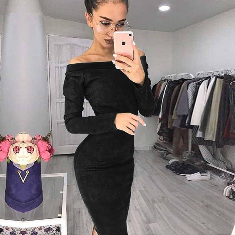 Solid Suede Long Sleeve Off Shoulder Women Mid-calf Dress 2020 Autumn Winter Female Sexy Bodycon New Year Party Dresses