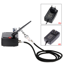 цена на Dual Action Airbrush Spray Gun with Compressor 0.3mm Airbrush Air Compressor Kit for Painting Tattoo Manicure Cake Spray Model