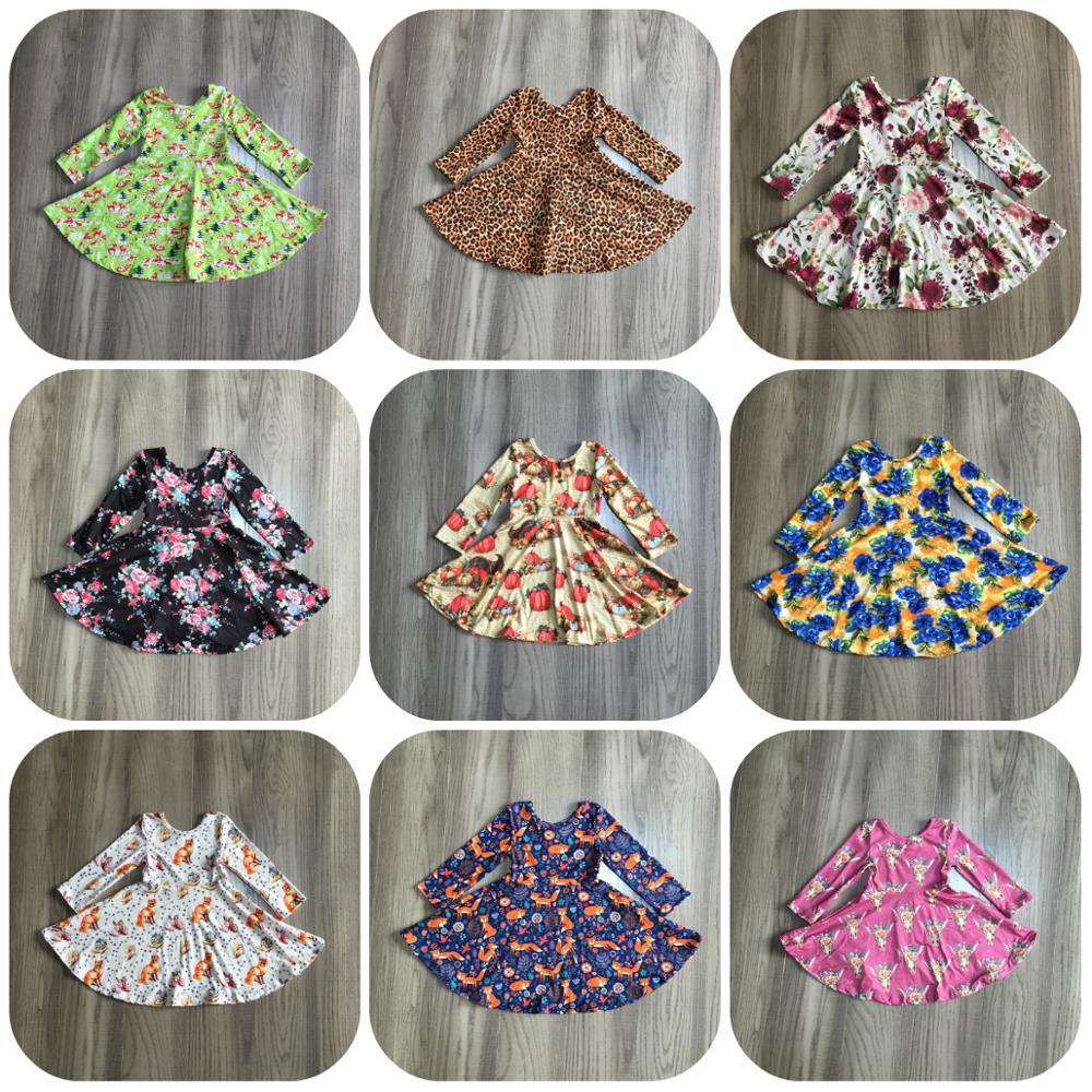 special offer Girlymax fall/winter baby girls cotton chlidren clothes milk silk twirl dress floral fox cow leopard knee length 1