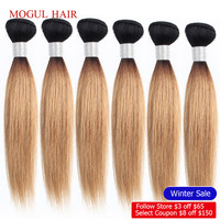 MOGUL HAIR 4/6 bundles 50g/pc 10 16 inch 1B 27 Dark Root Honey Blonde Ombre Peruvian Straight Non Remy Human Hair Weave