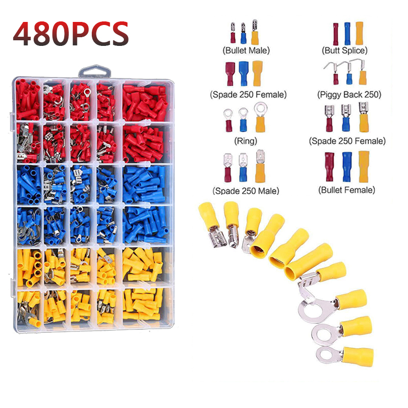 480Pcs Assorted Terminals Crimp Insulated Electrical Wire Connectors Spade Set
