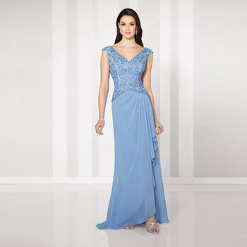 New Gorgeous Sky Blue Sheath Chiffon Mother of the Bride Dresses Lace Top Cap Sleeve Wedding Guest Gowns Deep V Neckline v neckline fluted sleeve gingham top