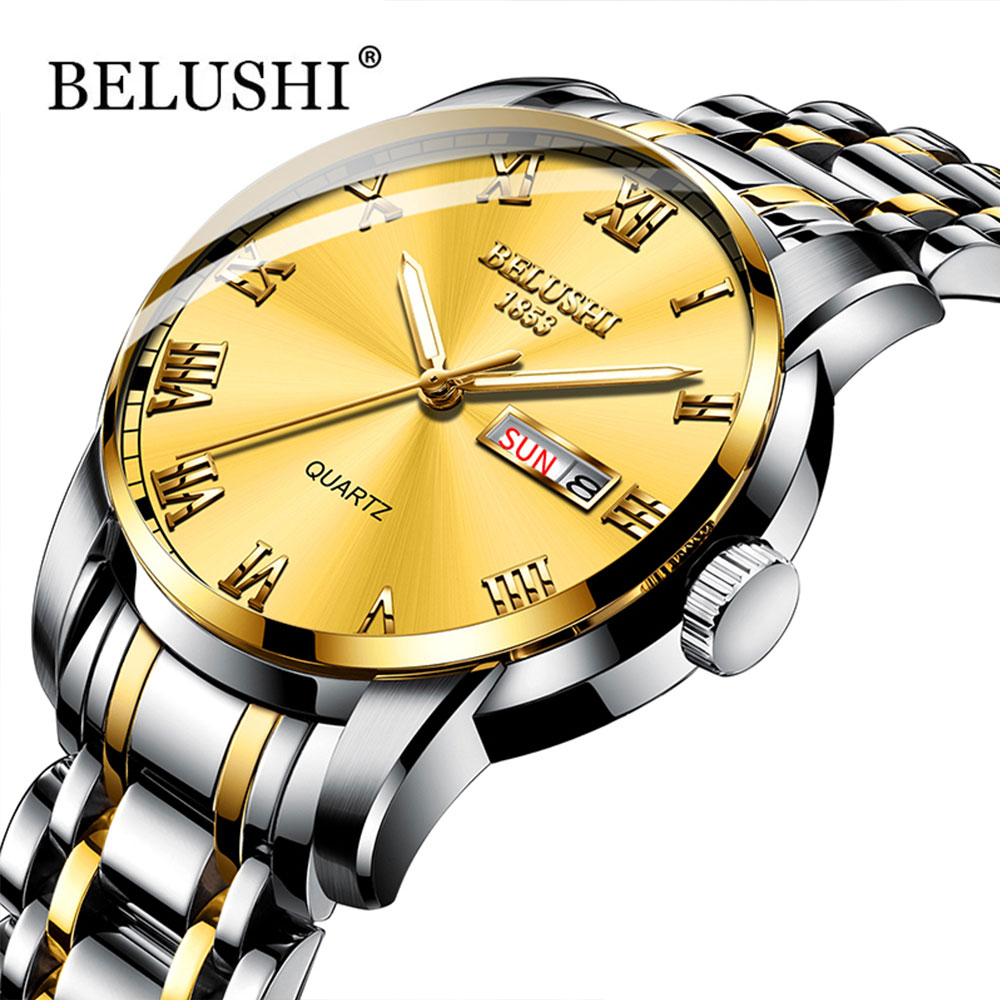 Belushi Quartz Watches Clock Classics-Watch Date Stainless-Steel Gold Waterproof Men Luxury title=