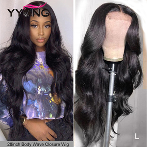 32Inch 4x4 5x5 Lace Closure Wigs With Baby Hair Indian Body wave Remy Long Human Hair Lace Wig For Black Women Pre Plucked 120%(China)