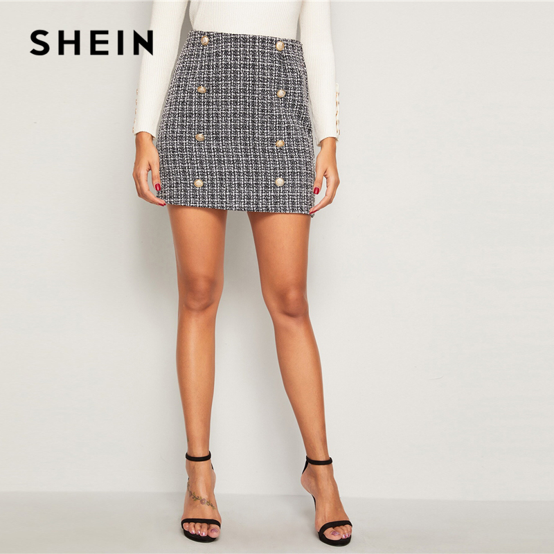 Image 4 - SHEIN Black and White Double Breasted Tweed Skirts Womens Autumn Winter Mid Waist Elegant A Line Ladies Sheath Mini Plaid Skirt-in Skirts from Women's Clothing