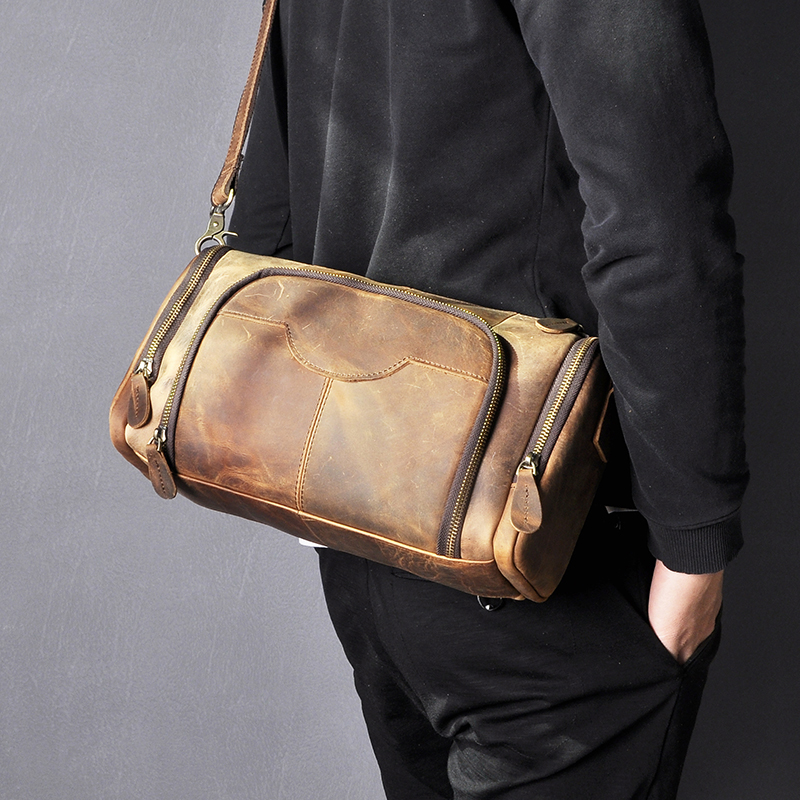 Moda de couro real masculino casual saco