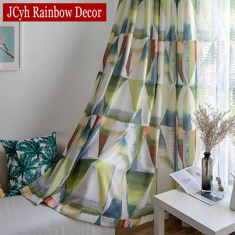 Geometric Patterns Colorful Curtains For Living Room European Window Curtains For Kids Bedroom Ready Made Drapes Curtains Aliexpress