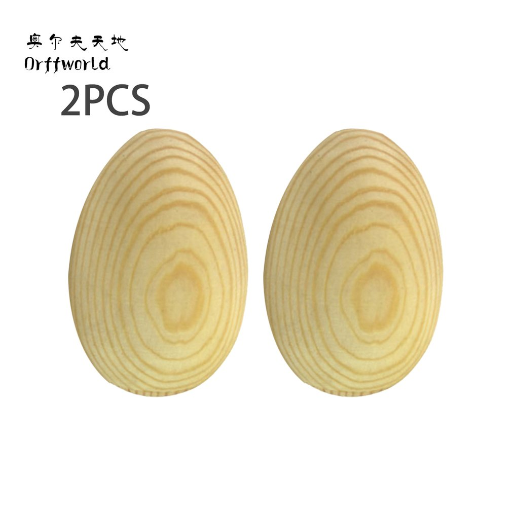 A Pair/SET Natural Wood Color Children Kids Wooden Sand Eggs Instruments Percussion Musical Toys Gift