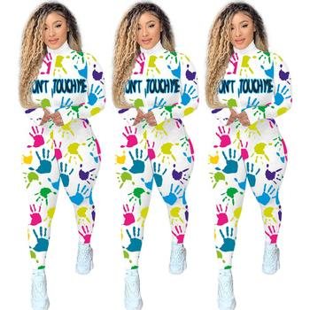 New Autumn Rib Print Zipper Jumpsuit Long Sleeve Sport Pants
