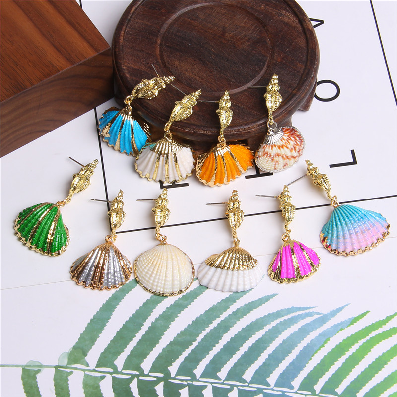 Sea Shell Drop Earrings 2019 Statement Seashell Gold Color Metal Beach Earrings For Women Femme Dangle Cowrie Jewelry Bohemian
