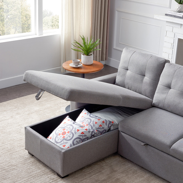 Sectional Sofa Corner Bed With Storage  5