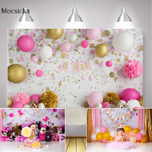 Girl One Birthday Party Backdrop Decoration Dots Balloons Flowers Wall Princess Birthday Cake Smash Background Photography Props