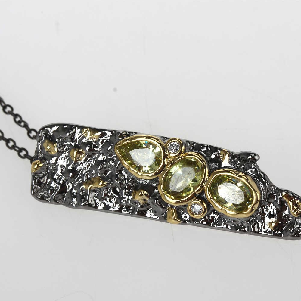 DreamCarnival1989 Neue Stein Alter Sammlungen Gothic Anhänger Halskette für Frauen Schwarz Gold Farbe Vintage Einzigartige Olivine CZ WP6672