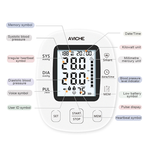 Image 3 - AVICHE Professional Automatic Digital Arm Blood Pressure Monitor Backlit LCD Display Talking Medical Device Sphygmomanometer