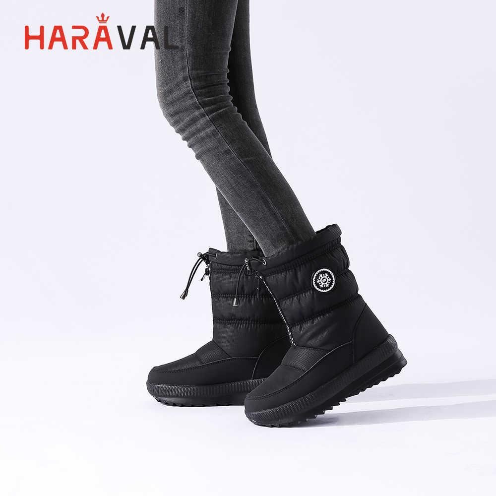 Haraval Mùa Đông Người Phụ Nữ Sang Trọng Cổ Chân Giày Chất Lượng Vải Cotton Mũi Tròn Gót Dày Giày Thời Trang Chắc Chắn Dây Buộc Cơ Bản ủng