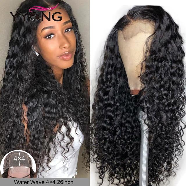 YYong, 5x5, 6x6, pelucas con cierre de onda de encaje de agua malaya, línea de pelo Pre desplumado con pelo de bebé, peluca Remy 100% de pelo humano, densidad del 120%