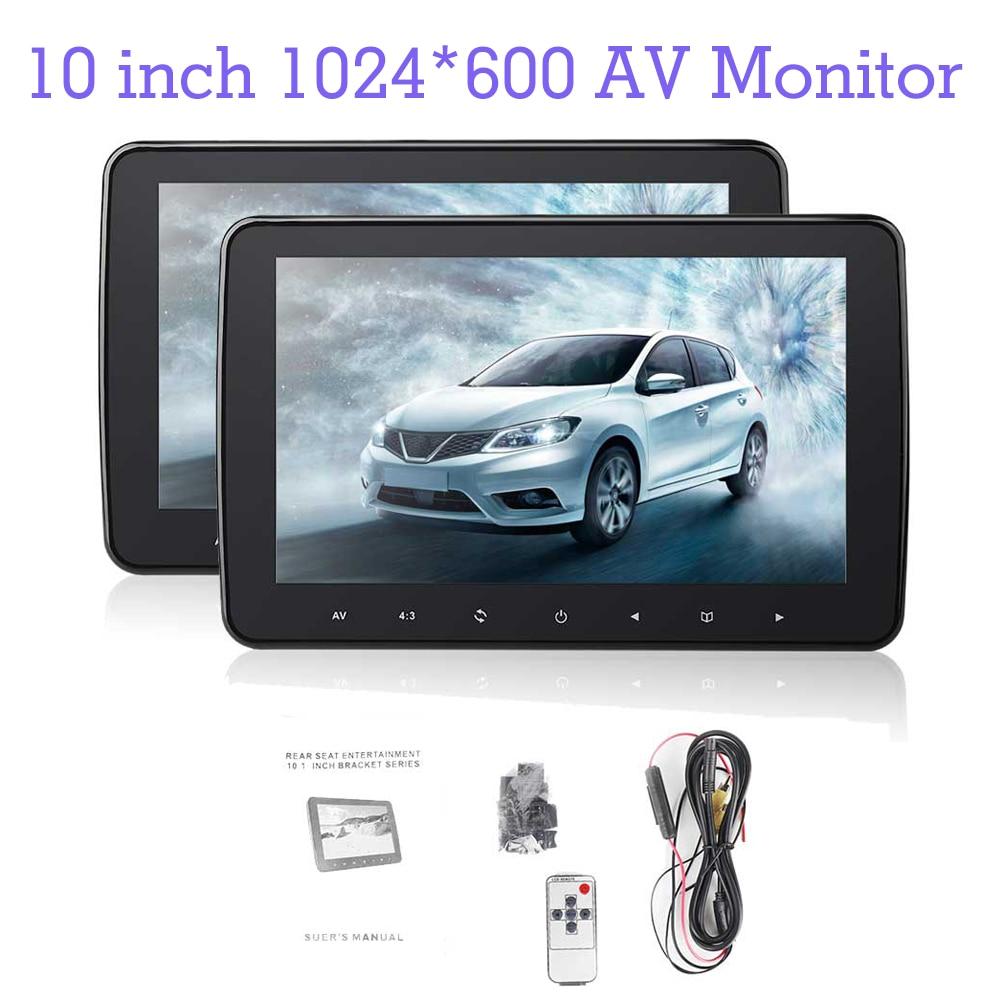 10 Polegada monitor 1024*600 do reprodutor de dvd do encosto de cabeça do carro da tela lcd de digitas tft com rádio hd monitor av para o leitor de dvd do rádio do carro