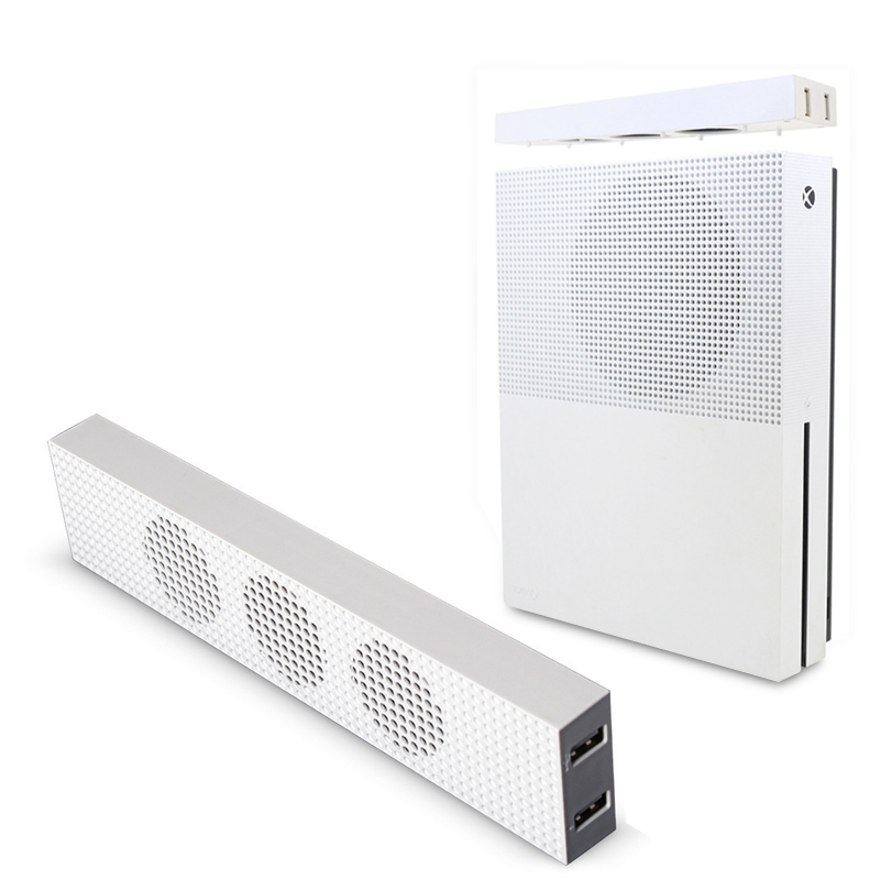 For Xbox One S Cooling Fan with 2 USB Ports Hub and 3 H/L Speed Adjustment Cooling Fans Cooler for Xbox One Slim Gaming Console