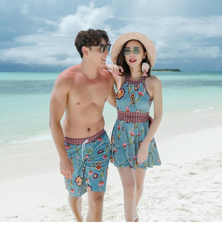 New Board Short Couple Swimwear printed Swimsuit Swimming Shorts Women Board Shorts Lovers Men Beach Surf Couple Swimsuits