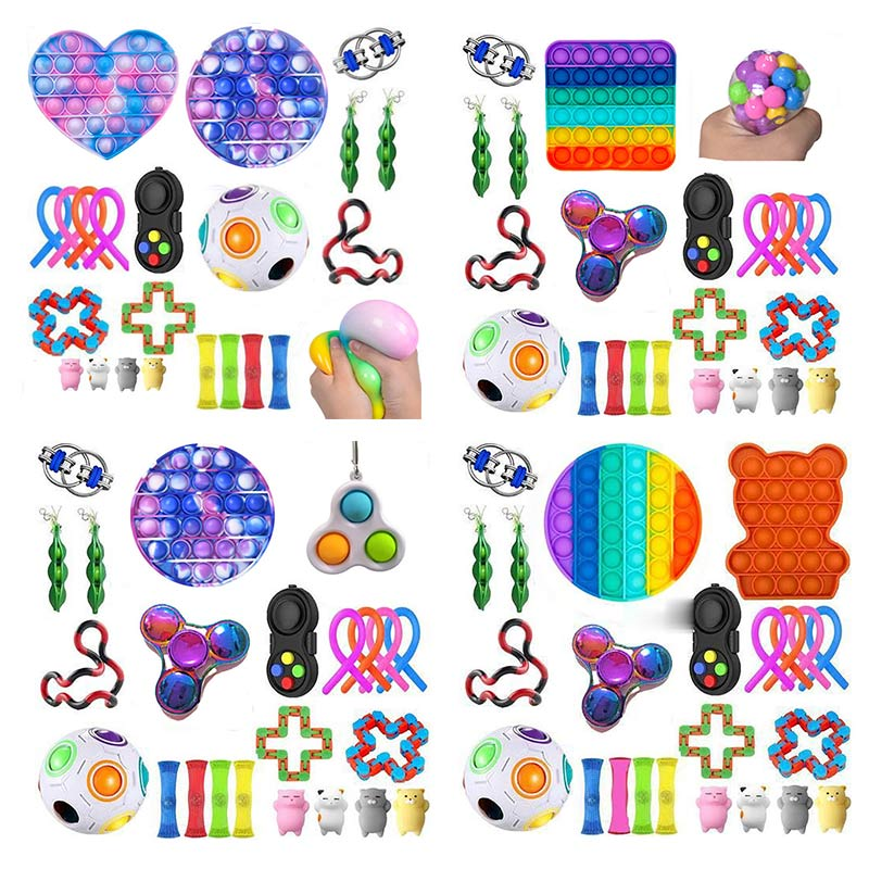 Fidget-Toys Gift-Pack Anti-Stress-Set Pop-It Stretchy-Strings Sensory Squishy Children