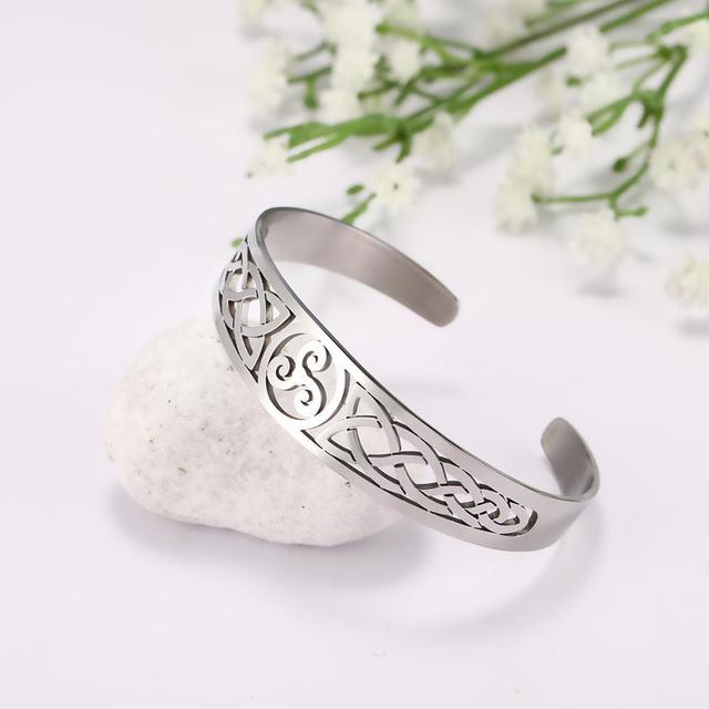 Bracelets manchette Viking Lemegeton noeud irlandais Bracelet noeud celtique hommes femmes amulette bijoux Talisman Bracelet acier inoxydable (Copie) 2
