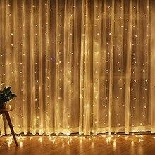 1,5x2,5 м занавес огни 220 В струнный свет Рождественская вечеринка Свадьба крытый Открытый Рождественский Сад Многоцветный 150 Led Подвесная лампа
