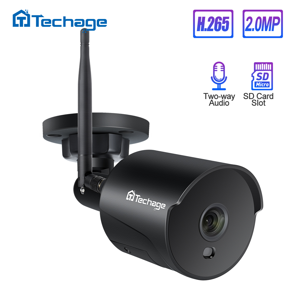 Techage 1080P 2MP Wireless Wifi IP Camera Two Way Audio IR Night Vision P2P Onvif CCTV Outdoor Video Surveillance TF Card Slot