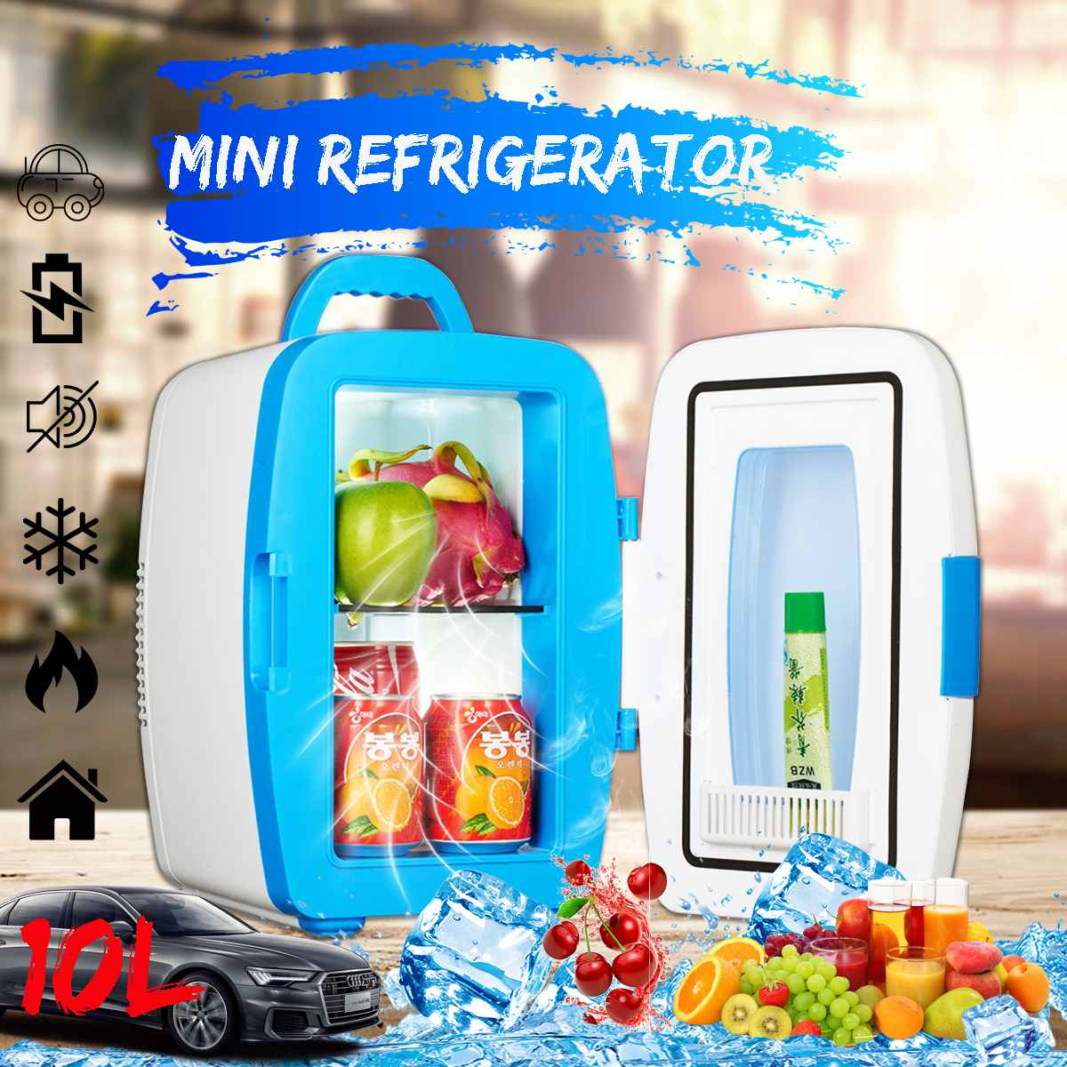 Portable 10L Mini Car Refrigerator Freezer Cooler Warmer Home Car Camping Travel Dual-use AC 220V DC 12V
