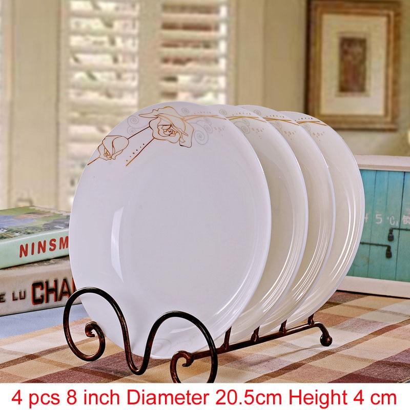 Jingdezhen porcelaine porcelaine vaisselle | Porcelaine, vaisselle pour la salle à manger, vaisselle en céramique assiettes à soupe profonde, assiettes à Sushi 4 pièces/ensemble - 6