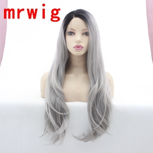 MRWIG natural ondulado ombre gris sintético frente encaje peluca Rubio ombre amarillo rojo sin pegamento peluca Mujer