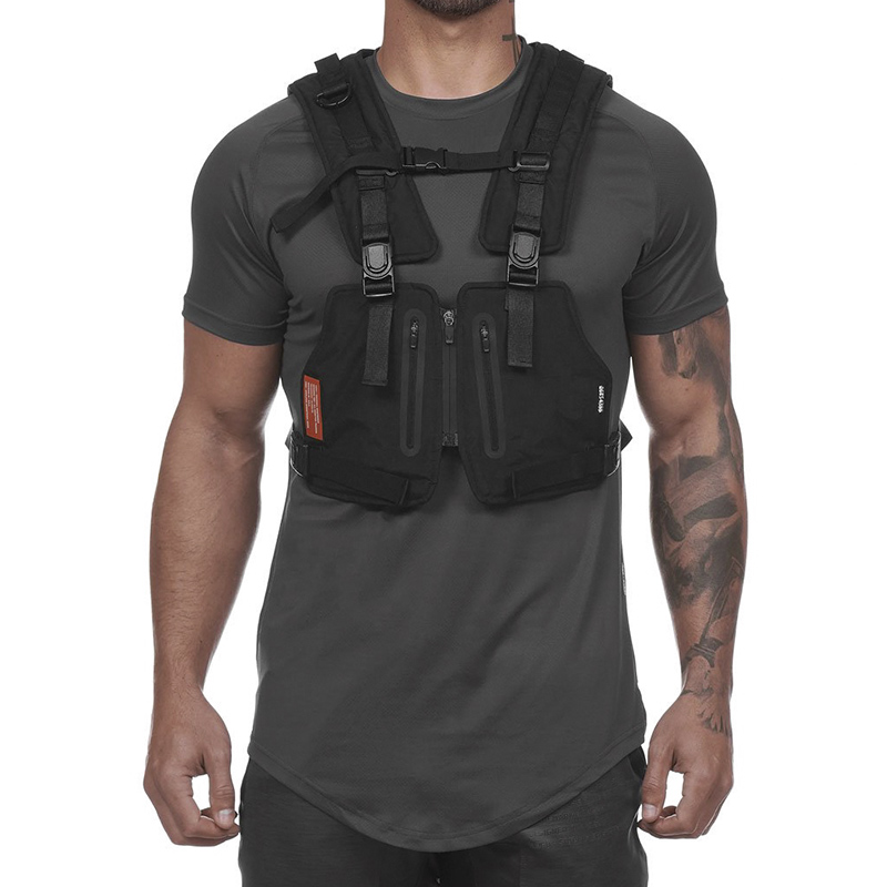 Men Hip Hop Street Style Chest Rig Bag Streetwear Tactical Vest Phone Bag Fashion Reflective Strip Cargo Waistcoat With Pockets